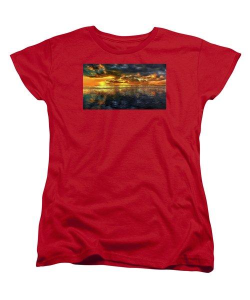 Sunset #95 Or Sunset Over The Atlantic. Women's T-Shirt (Standard Cut) by Alex Galkin
