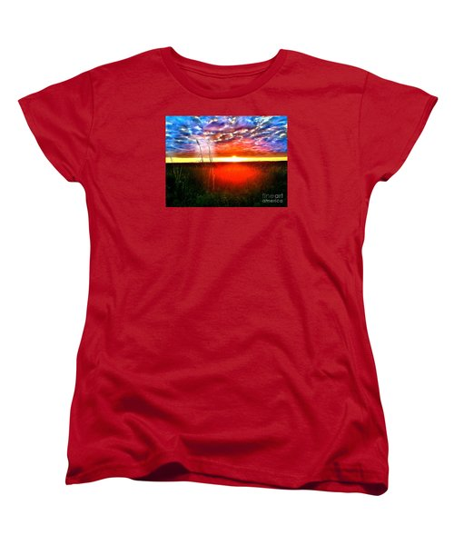 Women's T-Shirt (Standard Cut) featuring the painting Sunset by Amy Sorrell