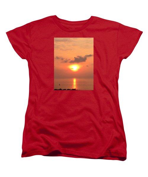 Sunset And Sailboat Women's T-Shirt (Standard Cut) by Karen Nicholson