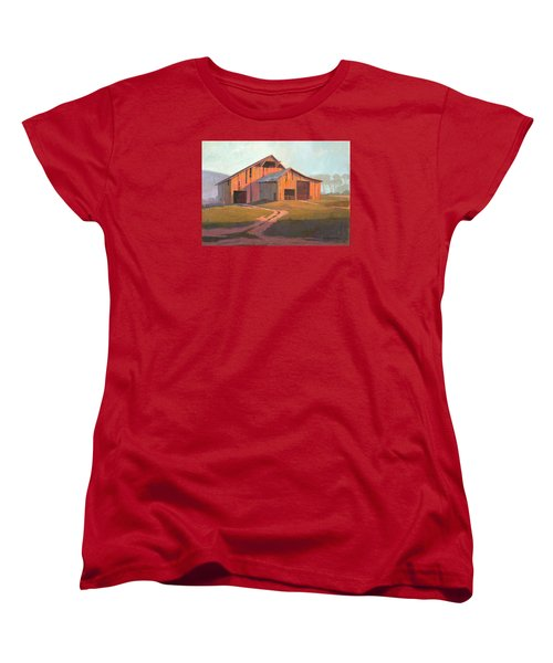 Women's T-Shirt (Standard Cut) featuring the painting Sunset Barn by Michael Humphries