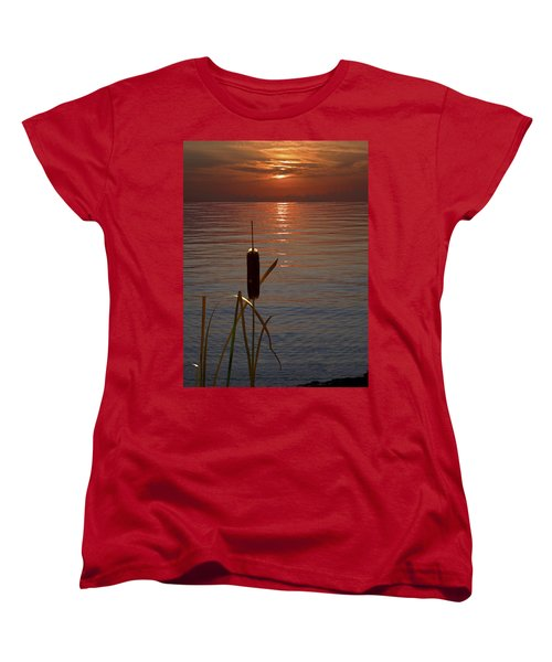 Sunset Cattail Women's T-Shirt (Standard Cut) by Judy Johnson
