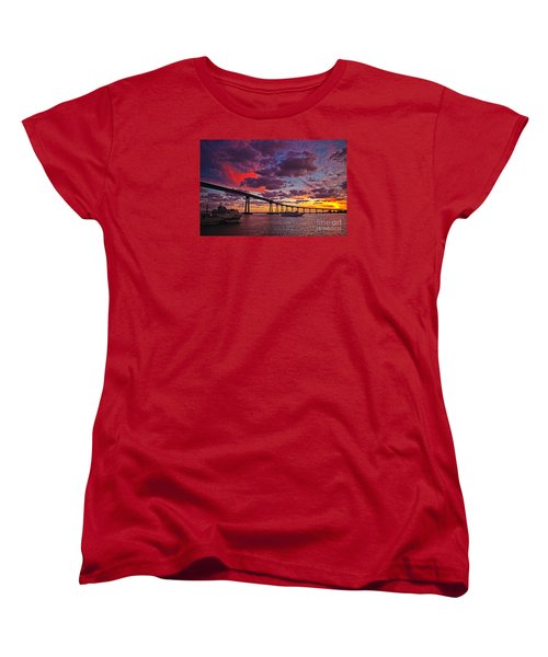 Sunset Crossing At The Coronado Bridge Women's T-Shirt (Standard Cut) by Sam Antonio Photography