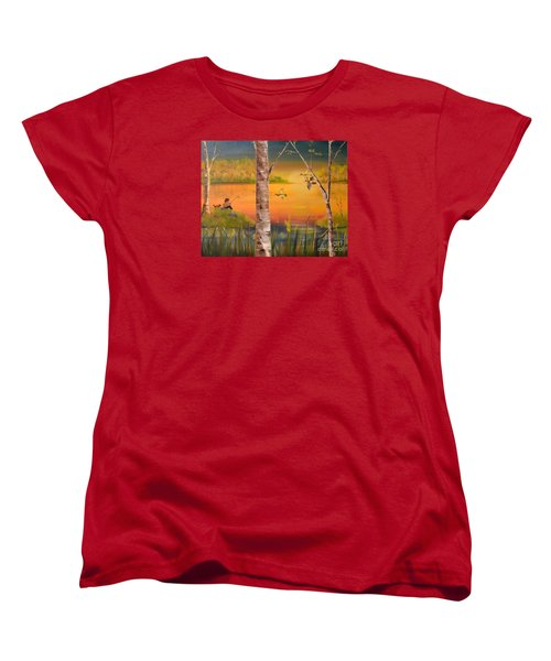 Sunset Fishing Women's T-Shirt (Standard Cut) by Denise Tomasura