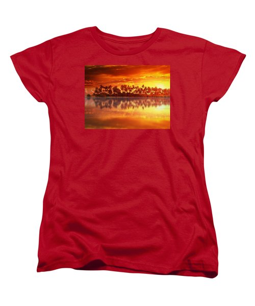 Women's T-Shirt (Standard Cut) featuring the mixed media Sunset In Paradise by Gabriella Weninger - David