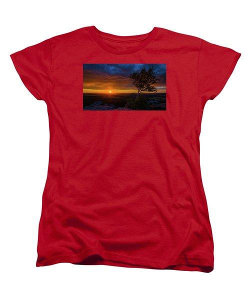 Sunset In Saxonian Switzerland Women's T-Shirt (Standard Cut) by Andreas Levi