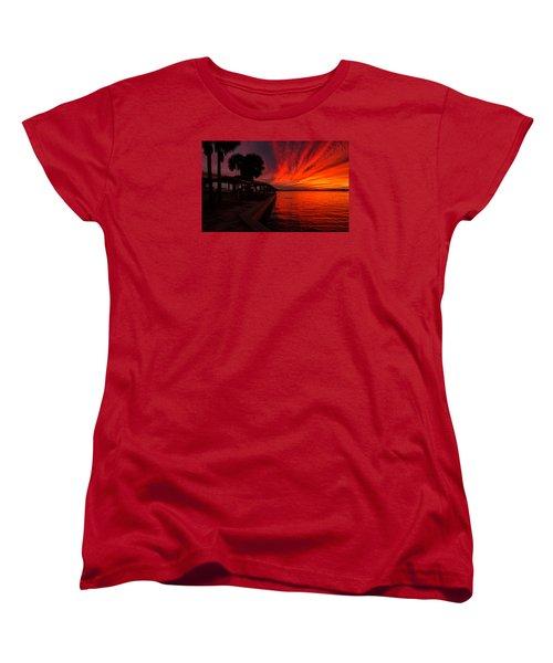 Sunset On Fire Women's T-Shirt (Standard Cut) by Dorothy Cunningham