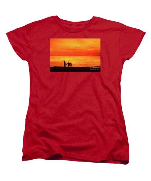Sunset On The Beach Women's T-Shirt (Standard Cut) by Randy Steele