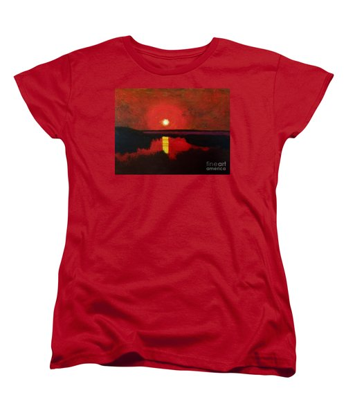 Women's T-Shirt (Standard Cut) featuring the painting Sunset On The Lake by Donald J Ryker III