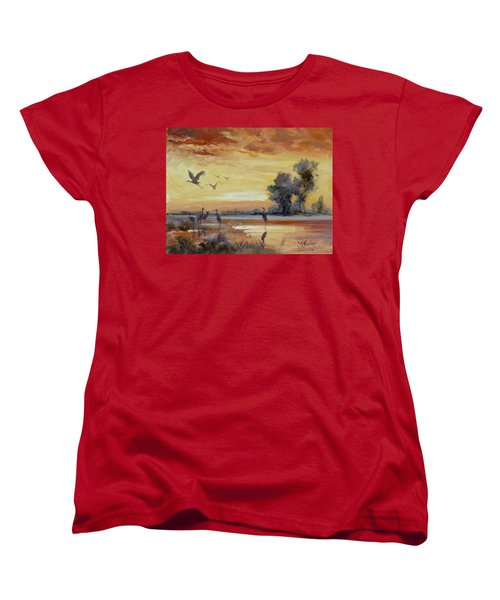 Sunset On The Marshes With Cranes Women's T-Shirt (Standard Cut) by Irek Szelag