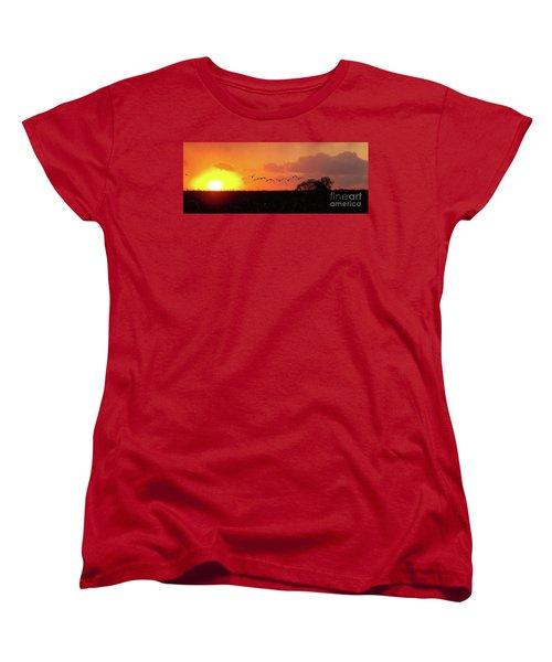 Sunset Over Easy Women's T-Shirt (Standard Cut) by Sue Stefanowicz