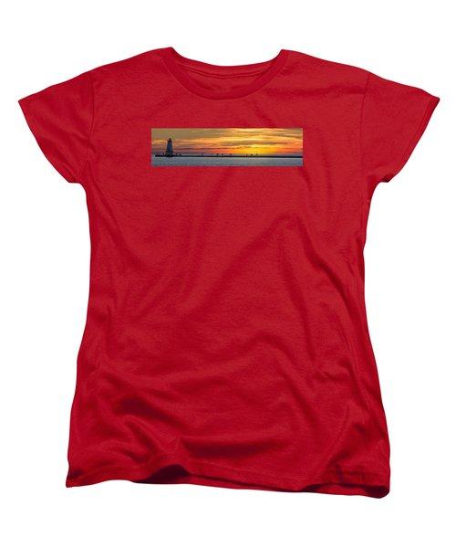 Women's T-Shirt (Standard Cut) featuring the photograph Sunset Over Ludington Panoramic by Adam Romanowicz