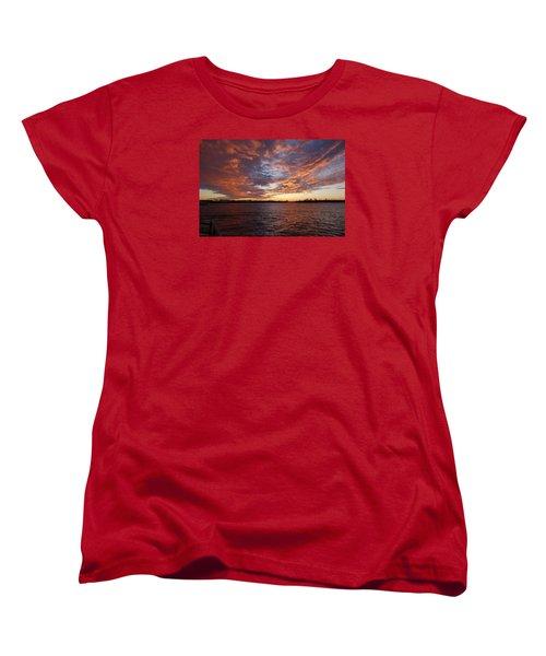 Sunset Over Manasquan Inlet Women's T-Shirt (Standard Cut) by Melinda Saminski