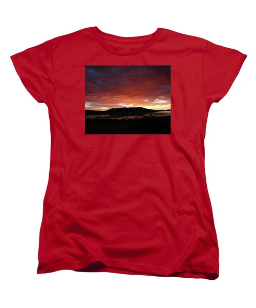 Women's T-Shirt (Standard Cut) featuring the painting Sunset Over Mormon Lake by Dennis Ciscel