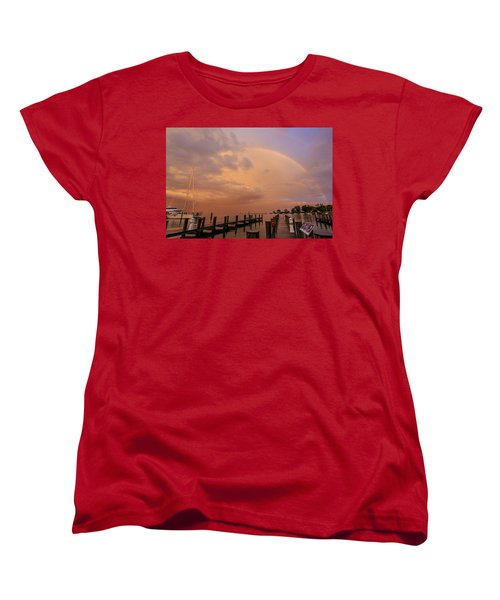 Women's T-Shirt (Standard Cut) featuring the photograph Sunset Rainbow by Jennifer Casey