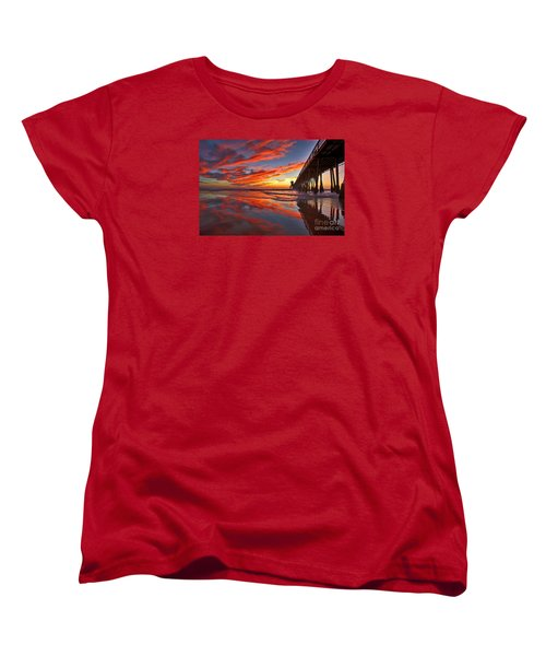 Sunset Reflections At The Imperial Beach Pier Women's T-Shirt (Standard Cut) by Sam Antonio Photography