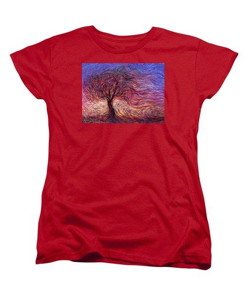 Sunset Tree Women's T-Shirt (Standard Cut) by Hans Droog
