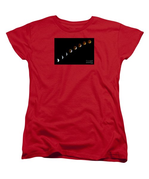 Super Blood Moon Time Lapse Women's T-Shirt (Standard Cut) by Jennifer White