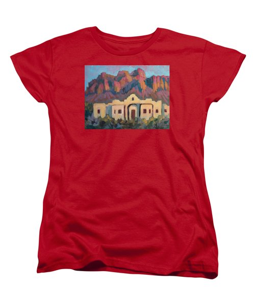 Women's T-Shirt (Standard Cut) featuring the painting Superstition Mountain Evening by Diane McClary