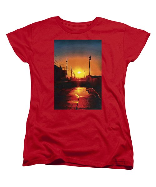 Surreal Cityscape Sunset Women's T-Shirt (Standard Cut) by Anton Kalinichev