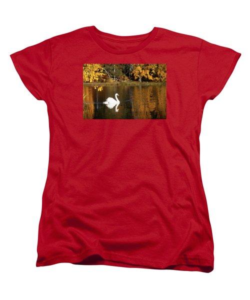 Swan On A Lake Women's T-Shirt (Standard Cut) by Teemu Tretjakov