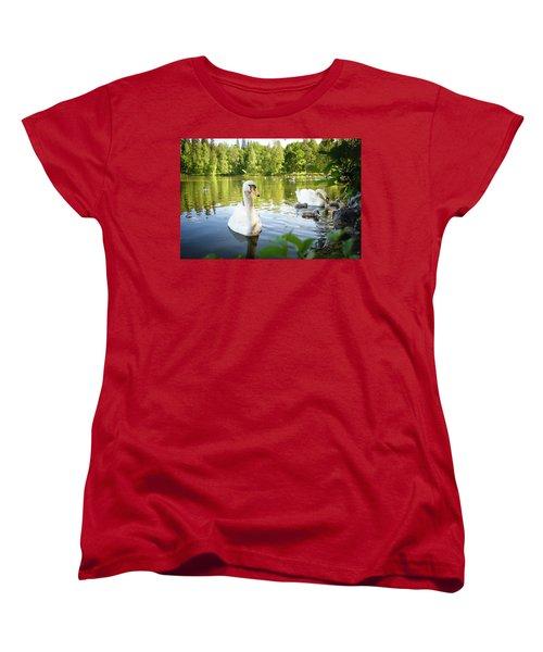 Swans With Chicks Women's T-Shirt (Standard Cut) by Teemu Tretjakov