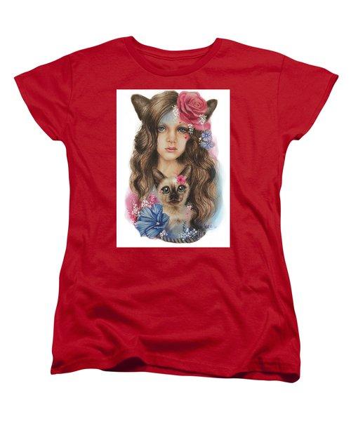 Women's T-Shirt (Standard Cut) featuring the mixed media Sweetheart by Sheena Pike