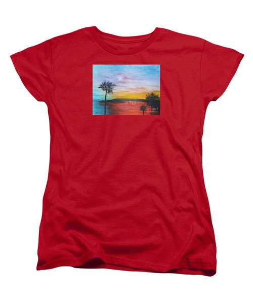 Table On The Beach From The Water Series Women's T-Shirt (Standard Cut) by Donna Dixon