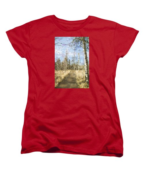 Women's T-Shirt (Standard Cut) featuring the painting Take A Walk by Annette Berglund