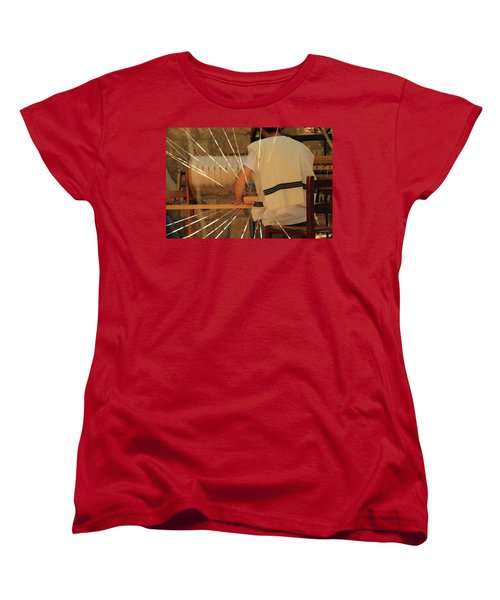 Women's T-Shirt (Standard Cut) featuring the photograph Jewish Prayer Shawl Weaving In Tzfat by Yoel Koskas