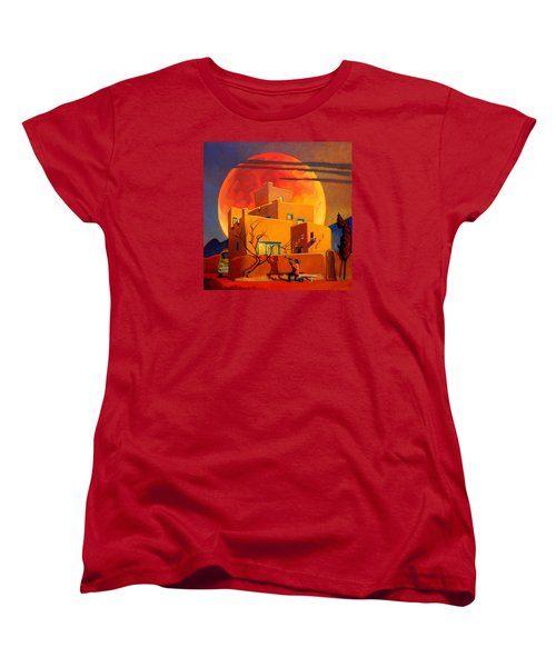 Women's T-Shirt (Standard Cut) featuring the painting Taos Wolf Moon by Art West
