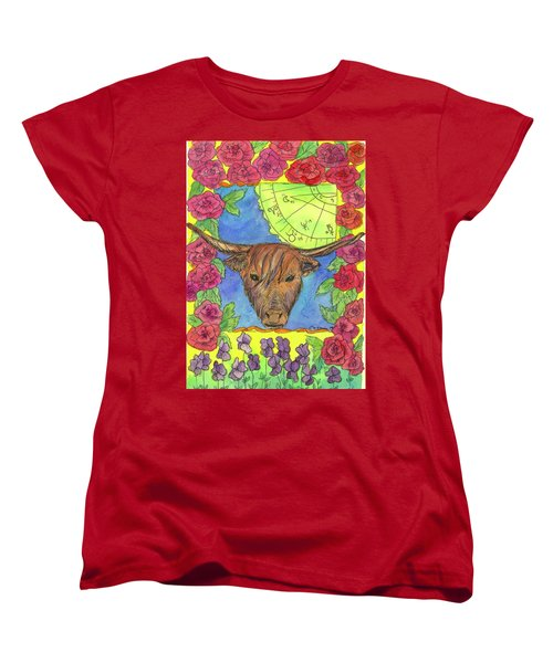 Women's T-Shirt (Standard Cut) featuring the painting Taurus by Cathie Richardson