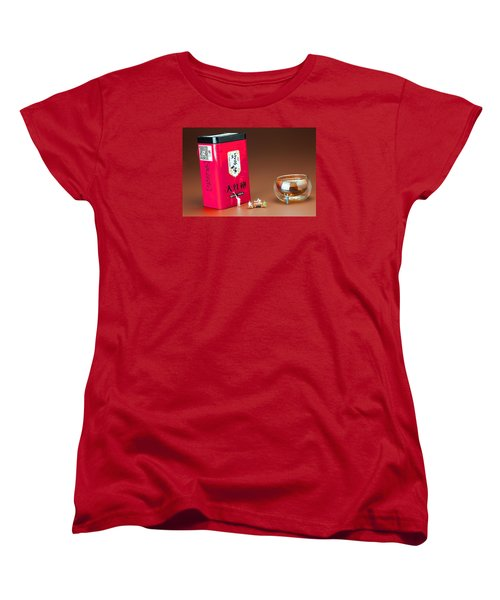 Women's T-Shirt (Standard Cut) featuring the photograph Tea Drinking In A Family Little People Big World by Paul Ge