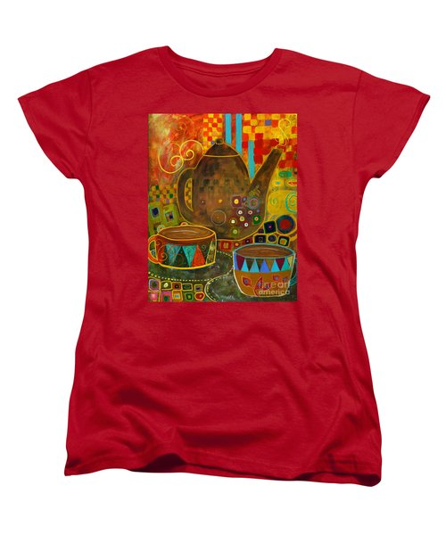 Tea Party With Klimt Women's T-Shirt (Standard Cut) by Robin Maria Pedrero