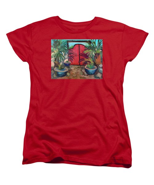 Women's T-Shirt (Standard Cut) featuring the painting Tecate Garden Gate by Diane McClary