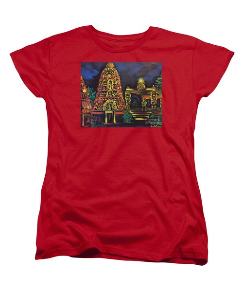 Women's T-Shirt (Standard Cut) featuring the painting Temple Lights In The Night by Brindha Naveen