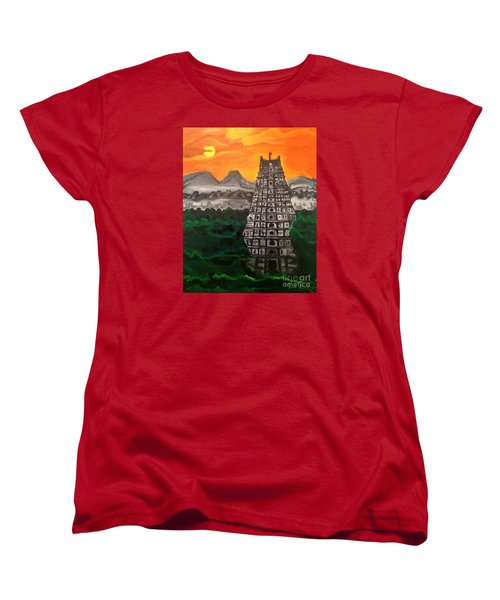 Women's T-Shirt (Standard Cut) featuring the painting Temple Near The Hills by Brindha Naveen