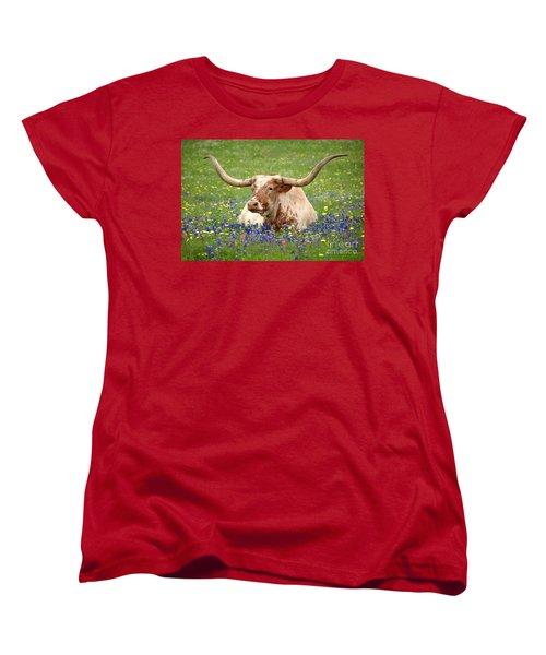 Texas Longhorn In Bluebonnets Women's T-Shirt (Standard Cut) by Jon Holiday