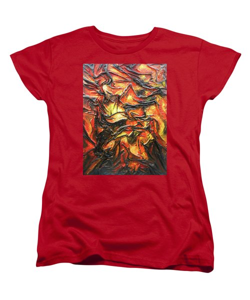 Women's T-Shirt (Standard Cut) featuring the mixed media Texture Of Fire by Angela Stout
