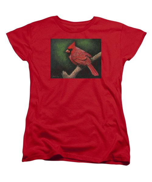Women's T-Shirt (Standard Cut) featuring the painting Textured Cardinal by Janet King