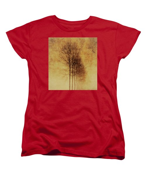 Women's T-Shirt (Standard Cut) featuring the mixed media Textured Eerie Trees by Dan Sproul