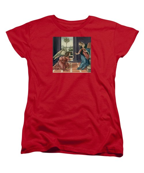 The Annunciation After Botticelli Women's T-Shirt (Standard Cut) by Yvonne Wright