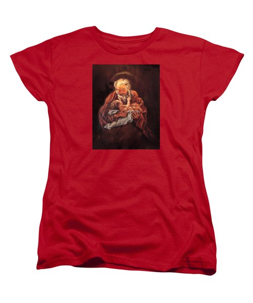 Women's T-Shirt (Standard Cut) featuring the painting The Baby Jesus - A Study by Donna Tucker