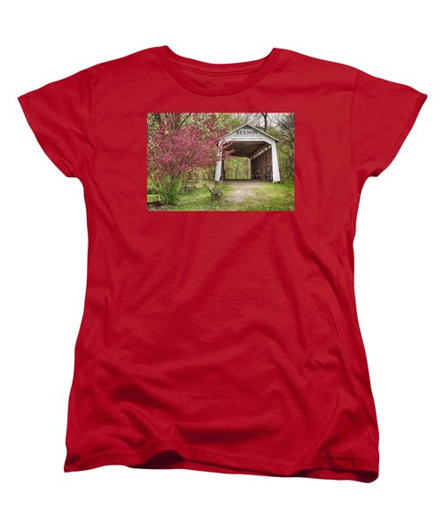 Women's T-Shirt (Standard Cut) featuring the photograph The Beeson Covered Bridge by Harold Rau