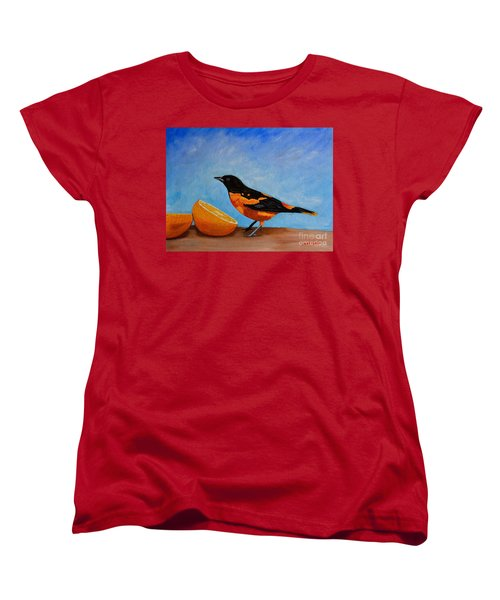 Women's T-Shirt (Standard Cut) featuring the painting The Bird And Orange by Laura Forde