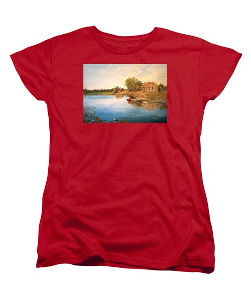 Women's T-Shirt (Standard Cut) featuring the painting The Cabin by Alan Lakin