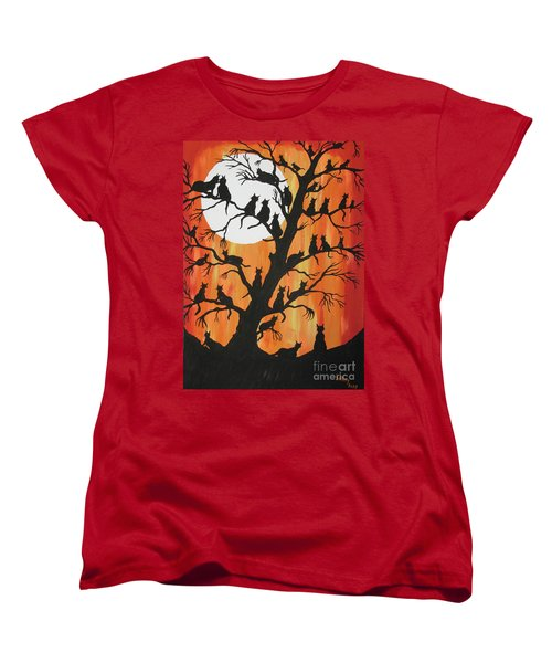 The Cats On Night Watch Women's T-Shirt (Standard Cut) by Jeffrey Koss