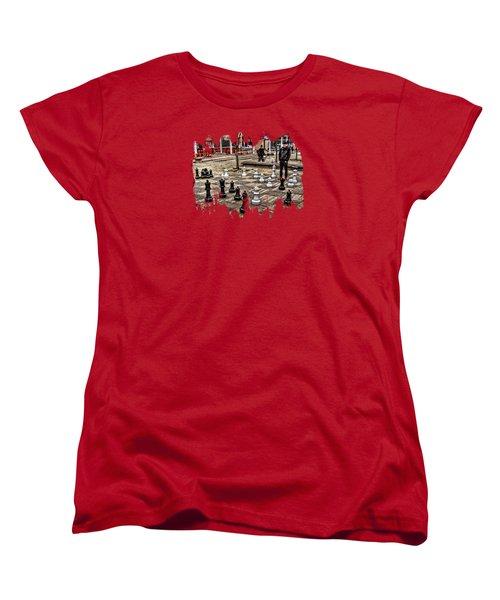 The Chess Match In Pdx Women's T-Shirt (Standard Cut) by Thom Zehrfeld