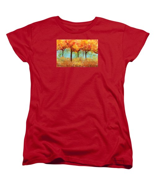 Women's T-Shirt (Standard Cut) featuring the painting The Colors Of New Hampshire by Patricia Arroyo