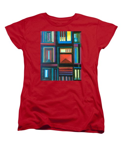 Women's T-Shirt (Standard Cut) featuring the painting The Doors Of Hope  by Laila Awad Jamaleldin