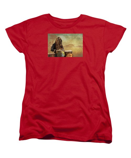 The Dream Of His Drums Women's T-Shirt (Standard Cut) by Christina Lihani